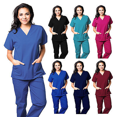 UNISEX MEN/WOMEN MEDICAL UNIFORM Hospital Scrubs Set Nursing Natural Top & Pants