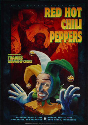 BGP 140 Red Hot Chili Peppers San Francisco Sacramento 1996 Poster Chavez Jester