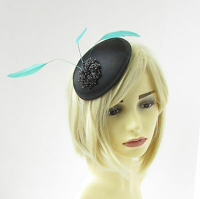 Black Turquoise Green Statement Feather Fascinator Pillbox Races Hat Ascot  2271