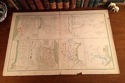 Large Original Antique Civil War Map FORT HENRY & DONELSON Dover TN Tennessee