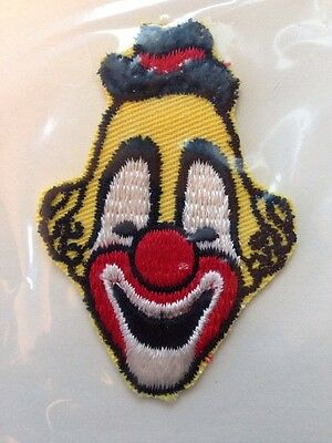 """Vtg New 1980's Yellow Clown Sew-On Embroidered Patch NOS 3"""""""