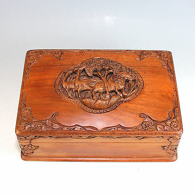 Fantastic Hand-Carved Wooden Box with Secret Lock