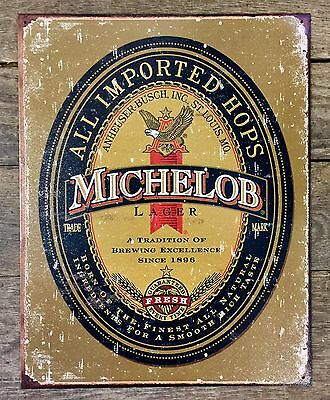 MICHELOB LAGER Anheuser-Busch Vintage Beer Tin Metal Sign