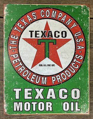 TEXACO Motor Oil ~ The Texas Company Vintage Tin Metal Sign