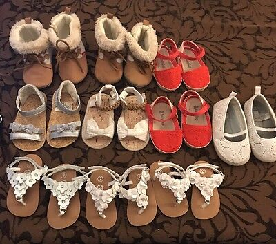 Girls Crib Shoes Baby Infant Shoes-Size 2 - 6 9 12 months - Used