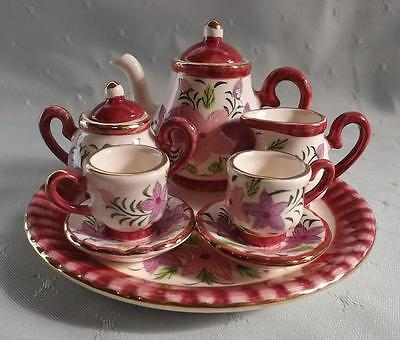 **Miniature ceramic tea set** Burgandy Pink  Mauve & Green flower design** New**