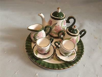 **Miniature ceramic tea set** Green white & pink flower design** New**
