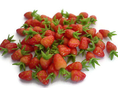 20 Loose Mini Strawberry Dollhouse Miniatures Fruit Supply Deco