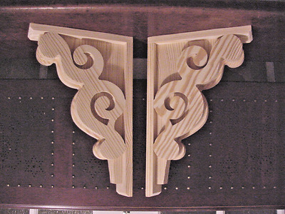 Pair of Vintage Victorian Design Wood Corbels..Shelf or Mantle Brackets..11 x 17