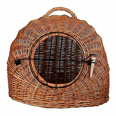 Wicker Cat Basket Transport Box Den Bed Wooden Toggle Pet Metal Barred Door