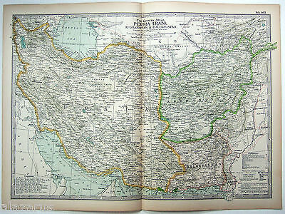 Original 1897 Map of Persia, Afghanistan & Baluchistan by The Matthews Northrup