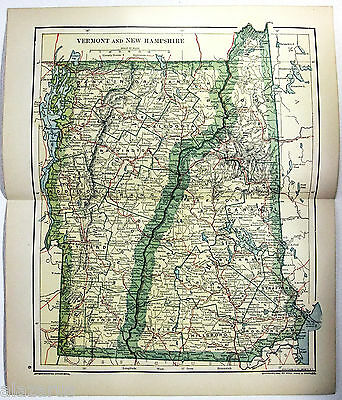 Original 1895 Map of Vermont & New Hampshire by Dodd Mead & Company
