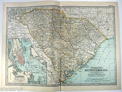 Original 1902 Map of South Carolina - A Finely Detailed Color Lithograph