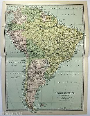 Original 1883 Map of South America by J. Bartholomew