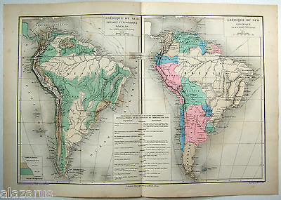 Original 1884 Map of South America by Drioux & Leroy Paris