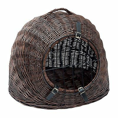 Wicker Cat Den Basket Transport Box Bed Cats Dogs Pet Hide Away 3 Buckle Straps