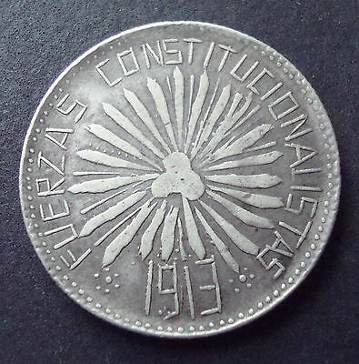 1913 Mexico RARE 50 Cent  Silver Coin  Revolutionary Chihuahua Del Parral