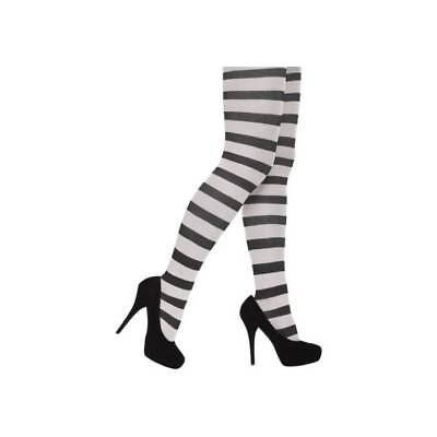 Black and White Striped Ladies Tights Alice Halloween Fancy Dress