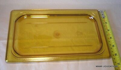 Lot of 5 Cambro 40HPC150 Flat H-Pan Cover flat Lid high heat 1/4 Size Amber Case
