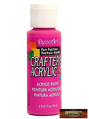 M01440 MOREZMORE DecoArt FUN FUCHSIA PINK Crafters Acrylic All Purpose Paint IZB