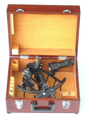 Vgc China Marine Navigation Drum Sextant Nr.781214 With Wooden Carrying Case