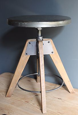 Industrial Stool Seat Bar Bistro Kitchen Metal Wood Adjustable Vintage Style