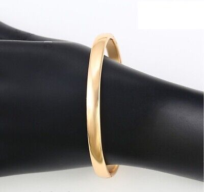 "9ct 9k Yellow ""Gold Filled"" Ladies Plain Openable Bangle Bracelet 60mm Gift"