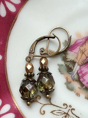 Antique Bronze & Green Gold Czech Glass Dainty Earrings, Vintage Style, Gift