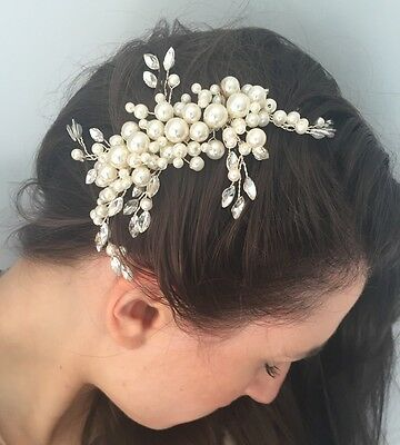Ivory Pearl & Silver Bridal Hair Comb Bridesmaid Wedding Accessories