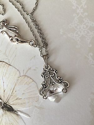 Antique Silver Crystal Clear Heart Necklace, Vintage Victorian Style, Gift