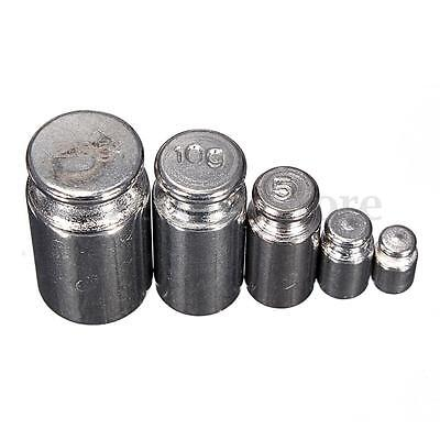 5Pcs 1g 2g 5g 10g 20g Grams Precision Chrome Calibration Scale Weight Set (75)