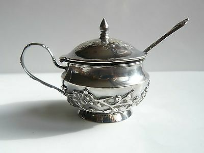China Chinese Silver Small Covered Sauce Boat w Spoon Luen Hing Shanghai c. 1910