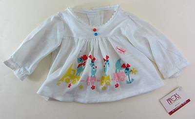 vintage baby girls top 60's train logo NWT's retro18 mths white