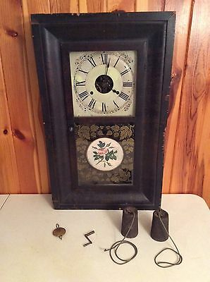 Antique Seth Thomas Weight Driven Column Shelf Mantle Clock Painted Glass