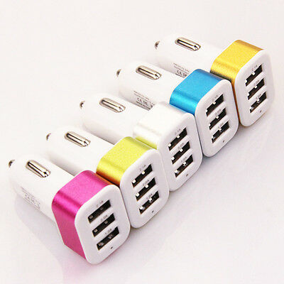 746|Chargeur voiture-USB 3 ports-allume cigare-pour Iphone Ipad Samsung