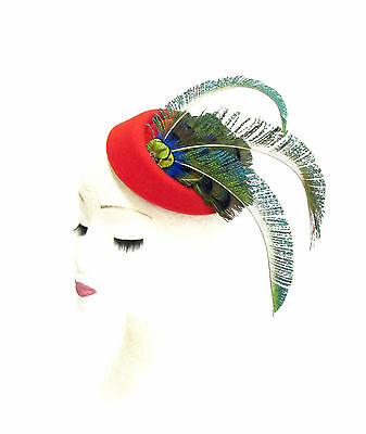 Green Blue Red Peacock Feather Pillbox Hat Headpiece Hair Fascinator Vtg 2274