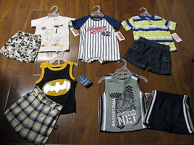 New 9 Pc. Lot Baby Boys Clothes 12 Months Spring Summer Shirts Shorts Outfits