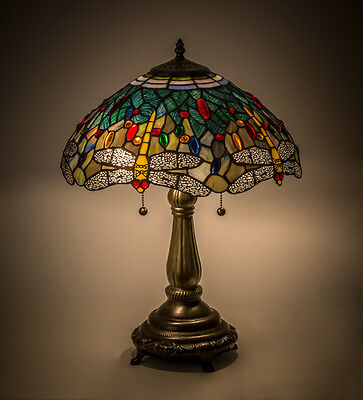 "Tiffany Style Meyda Lighting 119650 Dragonfly Stained Glass Table Lamp 16"" Shade"