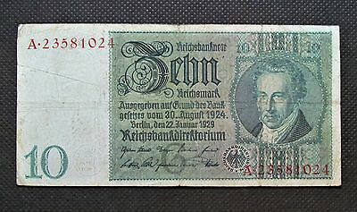 Old Bank Note Of Nazi Germany 10 Reichsmark 1929 Serial Number A23581024