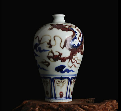 chinese ancient Blue and white youligong porcelain carving dragon of vase