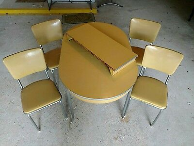 Vintage (original) 1947 Chrome  and Yellow Howell dinette set 4 chairs leaf