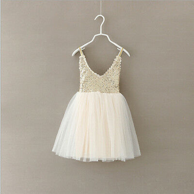 Baby Kids Girls Princess Sequins Toddler Tulle Lace Tutu Party Dress Beige