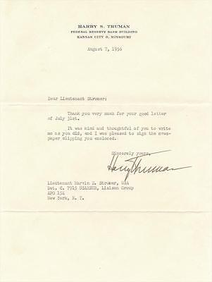 Harry Truman- Signed Letter from 1956