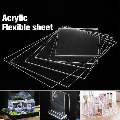New Clear Acrylic Perspex Sheet Crafts Arts Photo Frame Easy Cut 1.2mm Thick