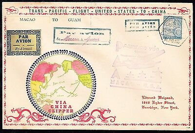 Macao #285 On Weigand Cachet From Macao To Guam Trans-Pacific Flt Cover Bt6799