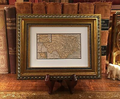 Framed Original 1889 Antique Map TEXAS Houston Dallas San Antonio Waco Galveston