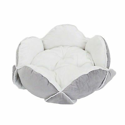 Pet Snuggle Bed Sleeping Dogs Cats Cushion Velvety Soft Padded Flower White