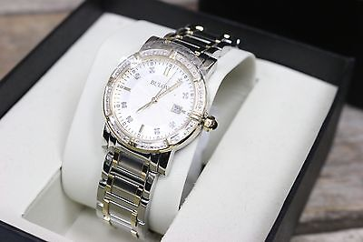 BULOVA Womens 98R107 Diamond Bevel Two Tone Stainless Mother of Pearl Watch NEW!