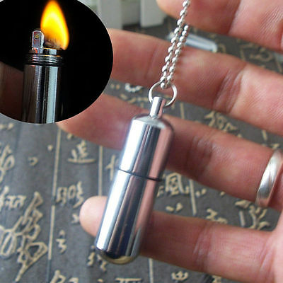 Stainless Steel Emergency Gear Fire Stash Waterproof Survival Lighter Camping