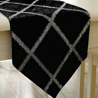 Jacquard 1X Table Runner Home Wedding Party Banquet Decoration Black Table Cloth